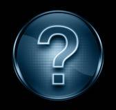 μπλε σκοτεινό σύμβολο ερώτησης εικονιδίων Στοκ Φωτογραφία