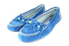μπλε σουέτ παπουτσιών Στοκ Φωτογραφία