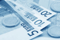 μπλε στενά ευρώ που τονίζ&om Στοκ Φωτογραφίες
