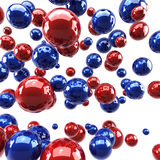 μπλε στιλπνές κόκκινες σφαίρες Στοκ Εικόνες