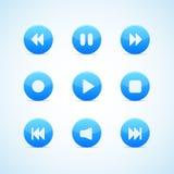 μπλε στρογγυλό σύνολο συσκευών αναπαραγωγής πολυμέσων κουμπιών Στοκ φωτογραφία με δικαίωμα ελεύθερης χρήσης