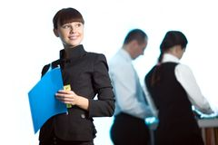 μπλε συμπαθητικές γυναί&kapp Στοκ Εικόνα