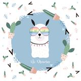 Μπλε συρμένη χέρι χαριτωμένη κάρτα με llama, γυαλιά, κάκτος το καλοκαίρι Αριθ. απεικόνιση αποθεμάτων