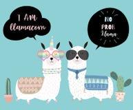 Μπλε συρμένη χέρι χαριτωμένη κάρτα με llama, τα γυαλιά και τον κάκτο Κανένα prob ελεύθερη απεικόνιση δικαιώματος