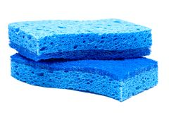 Μπλε σφουγγάρι τριψίματος μη γρατσουνιών Στοκ Φωτογραφίες