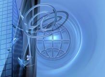 μπλε σχέδιο ε Διαδίκτυο επιχειρησιακού εμπορίου Στοκ εικόνα με δικαίωμα ελεύθερης χρήσης