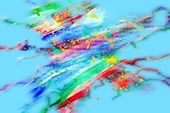Μπλε σχέδιο και σχέδιο χρωμάτων watercolor μορφών Στοκ Εικόνες