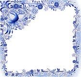 Μπλε σχέδιο με ένα πουλί και λουλούδια σε ένα άσπρο υπόβαθρο στο ύφος της ασιατικής ζωγραφικής πορσελάνης Τετραγωνικό πλαίσιο με  ελεύθερη απεικόνιση δικαιώματος