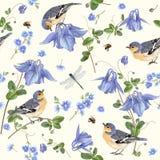 Μπλε σχέδιο πουλιών λουλουδιών Στοκ Εικόνα