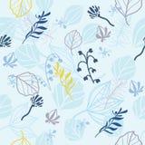 Μπλε σχέδιο τυπωμένων υλών με τα φύλλα και τα λουλούδια Στοκ Εικόνα