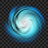 Μπλε σύμβολο τυφώνα στο σκοτεινό διαφανές υπόβαθρο ελεύθερη απεικόνιση δικαιώματος