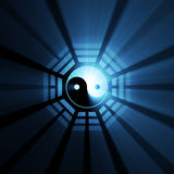 μπλε σύμβολο φλογών bagua yang yin Στοκ Εικόνα
