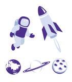 Μπλε σύνολο εικονιδίων διαστήματος και πλανητών ελεύθερη απεικόνιση δικαιώματος