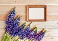 Μπλε σύνορα και πλαίσιο lupine wildflowers στο ξύλινο υπόβαθρο Στοκ φωτογραφία με δικαίωμα ελεύθερης χρήσης