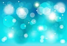 Μπλε ταπετσαρία επίδρασης φω'των bokeh Χριστουγέννων Στοκ εικόνες με δικαίωμα ελεύθερης χρήσης