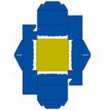 μπλε τετράγωνο κέικ κιβωτίων Στοκ Εικόνες