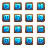 Μπλε τετραγωνικά κουμπιά στο ξύλινο διανυσματικό σύνολο κινούμενων σχεδίων πλαισίων στοκ εικόνα