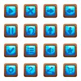 Μπλε τετραγωνικά κουμπιά στο ξύλινο διανυσματικό σύνολο κινούμενων σχεδίων πλαισίων στοκ εικόνες με δικαίωμα ελεύθερης χρήσης