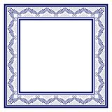 Μπλε τετραγωνικό πλαίσιο στο παραδοσιακό ύφος της ζωγραφικής στην πορσελάνη απεικόνιση αποθεμάτων