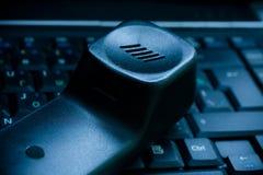 μπλε τηλεφωνικός δέκτης π Στοκ Εικόνα