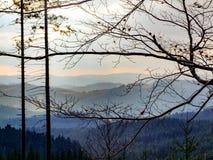 Μπλε τοπίο βουνών σε moravian-Silesian Beskids σε βόρειο Czechia Στοκ Φωτογραφίες