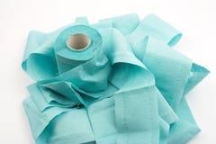 μπλε τουαλέτα εγγράφου Στοκ φωτογραφίες με δικαίωμα ελεύθερης χρήσης