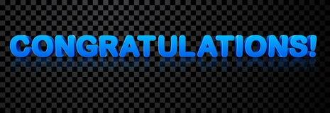 Μπλε τρισδιάστατο έμβλημα συγχαρητηρίων απεικόνιση αποθεμάτων