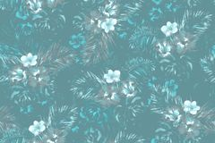 Μπλε τροπικό σχέδιο φύλλων σε ένα σκούρο μπλε υπόβαθρο Λουλούδια Watercolour και φύλλα φοινικών που χρωματίζουν την απεικόνιση στοκ εικόνες