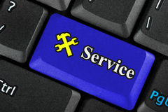 μπλε υπηρεσία εικονιδίων κουμπιών Στοκ Φωτογραφίες