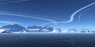 μπλε υπολογιστής γραφείου διανυσματική απεικόνιση