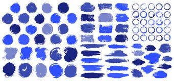 Μπλε υπόβαθρα κτυπήματος βουρτσών λεκέδων χρωμάτων διανυσματική απεικόνιση