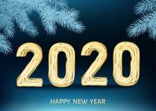 μπλε υπόβαθρο καλής χρονιάς του 2020 με το χρυσό αριθμό νέου διανυσματική απεικόνιση
