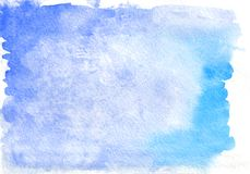 Μπλε υπόβαθρο κλίσης watercolour οριζόντιο που χρωματίζεται σε ειδικό χαρτί watercolor στοκ φωτογραφίες με δικαίωμα ελεύθερης χρήσης