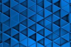 Μπλε υπόβαθρο με τα μεταλλικές τρίγωνα και τις σκιές Στοκ Εικόνα