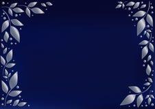 Μπλε υπόβαθρο τυποποιημένο ως μπλε βελούδο που διακοσμείται με τα ασημένια φύλλα και τα σημεία ελεύθερη απεικόνιση δικαιώματος
