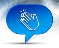 Μπλε υπόβαθρο φυσαλίδων εικονιδίων χειροκροτήματος χεριών ελεύθερη απεικόνιση δικαιώματος
