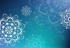 Μπλε υπόβαθρο mandala grunge - απεικόνιση Στοκ εικόνες με δικαίωμα ελεύθερης χρήσης