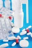 μπλε φάρμακα ανασκόπησης Στοκ Φωτογραφία
