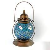 Μπλε φανάρι γυαλιού και χαλκού Στοκ Φωτογραφίες