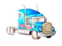 Μπλε φορτηγό τεράτων τρακτέρ Watercolor χωρίς ένα σώμα με ένα σχέδιο της πυρκαγιάς στην πλευρά Μετασχηματιστής Απομονωμένος σε έν ελεύθερη απεικόνιση δικαιώματος