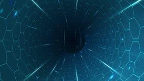 Μπλε φουτουριστική σήραγγα περιστροφής με hexagons και τις ελαφριές ακτίνες απεικόνιση αποθεμάτων