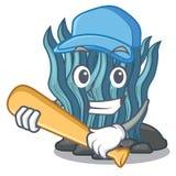 Μπλε φύκι μπέιζ-μπώλ παιχνιδιού στη μασκότ μορφής ελεύθερη απεικόνιση δικαιώματος