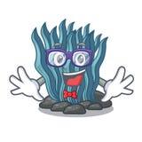 Μπλε φύκι Geek που απομονώνεται στο χαρακτήρα διανυσματική απεικόνιση