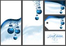 Μπλε χαιρετισμοί Χριστουγέννων καθορισμένοι διανυσματική απεικόνιση