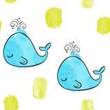 μπλε χαριτωμένη φάλαινα Διανυσματικό άνευ ραφής σχέδιο Watercolor Στοκ εικόνες με δικαίωμα ελεύθερης χρήσης