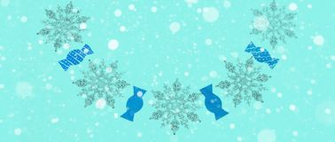 Μπλε χειμερινού εορταστικό υποβάθρου εμβλημάτων με μια επίδραση χιονιού Στοκ φωτογραφία με δικαίωμα ελεύθερης χρήσης