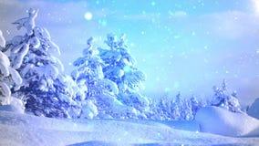 Μπλε χιονίζοντας υπόβαθρο Χριστουγέννων χειμερινών χωρών των θαυμάτων απεικόνιση αποθεμάτων