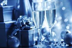 μπλε Χριστούγεννα καρτών Στοκ Εικόνες