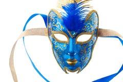 μπλε χρυσή μάσκα Στοκ Εικόνα