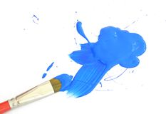 μπλε χρώμα βουρτσών Στοκ εικόνα με δικαίωμα ελεύθερης χρήσης